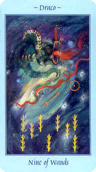 Nine of Batons Tarot Card - Celestial Tarot Deck