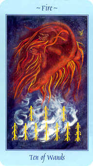 Ten of Staves Tarot Card - Celestial Tarot Deck