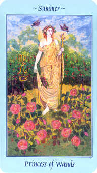 Daughter of Wands Tarot Card - Celestial Tarot Deck