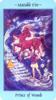 Prince of Staves Tarot Card - Celestial Tarot Deck
