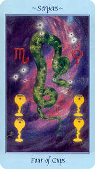 Four of Bowls Tarot Card - Celestial Tarot Deck