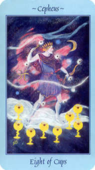 Eight of Bowls Tarot Card - Celestial Tarot Deck
