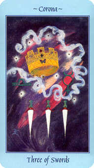 Three of Bats Tarot Card - Celestial Tarot Deck