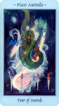 Four of Bats Tarot Card - Celestial Tarot Deck