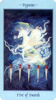 Five of Wind Tarot Card - Celestial Tarot Deck