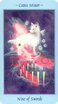 Nine of Bats Tarot Card - Celestial Tarot Deck
