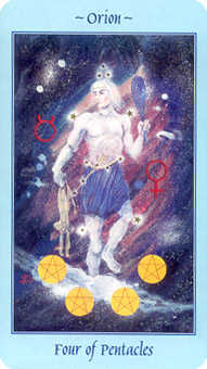Four of Coins Tarot Card - Celestial Tarot Deck