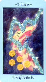 Five of Coins Tarot Card - Celestial Tarot Deck