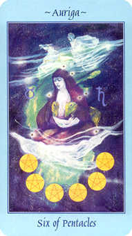 Six of Pentacles Tarot Card - Celestial Tarot Deck