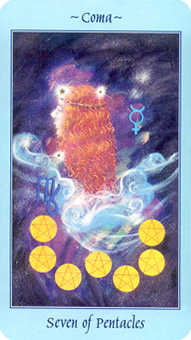 Seven of Pentacles Tarot Card - Celestial Tarot Deck
