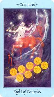 Eight of Discs Tarot Card - Celestial Tarot Deck