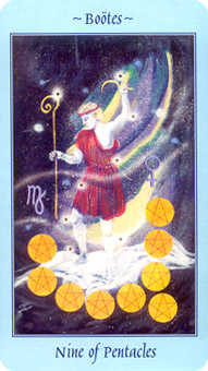 Nine of Coins Tarot Card - Celestial Tarot Deck