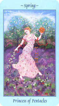 Daughter of Coins Tarot Card - Celestial Tarot Deck