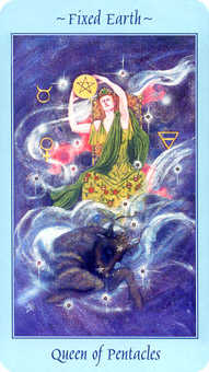 Queen of Discs Tarot Card - Celestial Tarot Deck