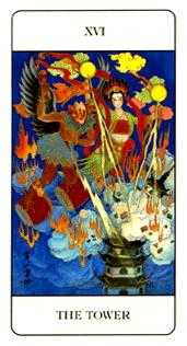 The Falling Tower Tarot Card - Chinese Tarot Deck