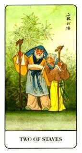 Two of Staves Tarot Card - Chinese Tarot Deck