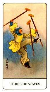 Three of Batons Tarot Card - Chinese Tarot Deck