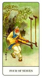Four of Rods Tarot Card - Chinese Tarot Deck