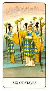 Six of Pipes Tarot Card - Chinese Tarot Deck