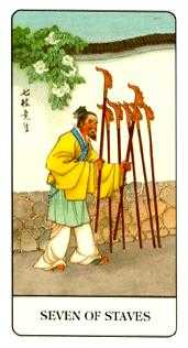 Seven of Staves Tarot Card - Chinese Tarot Deck