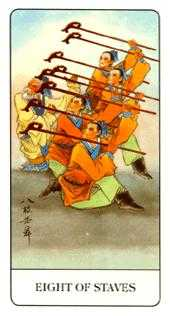 Eight of Batons Tarot Card - Chinese Tarot Deck