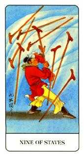 Nine of Staves Tarot Card - Chinese Tarot Deck