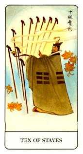 Ten of Batons Tarot Card - Chinese Tarot Deck
