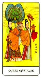 Queen of Staves Tarot Card - Chinese Tarot Deck