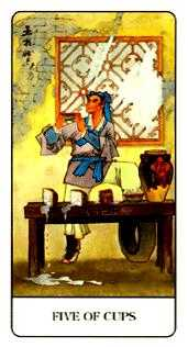 Five of Cauldrons Tarot Card - Chinese Tarot Deck