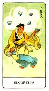 Six of Ghosts Tarot Card - Chinese Tarot Deck
