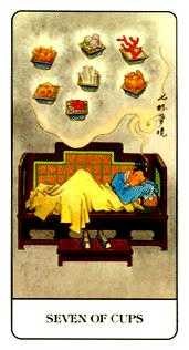 Seven of Bowls Tarot Card - Chinese Tarot Deck
