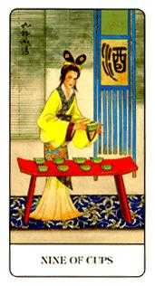 Nine of Bowls Tarot Card - Chinese Tarot Deck
