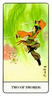 Two of Bats Tarot Card - Chinese Tarot Deck