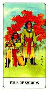 Four of Arrows Tarot Card - Chinese Tarot Deck
