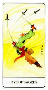 Five of Wind Tarot Card - Chinese Tarot Deck