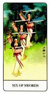 Six of Bats Tarot Card - Chinese Tarot Deck