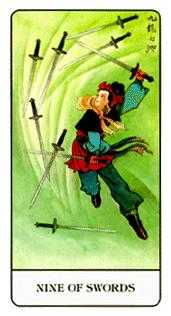 Nine of Arrows Tarot Card - Chinese Tarot Deck