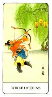 Three of Pentacles Tarot Card - Chinese Tarot Deck