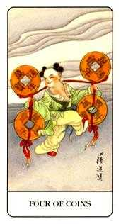 Four of Coins Tarot Card - Chinese Tarot Deck