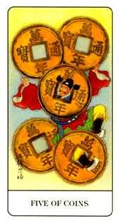 Five of Coins Tarot Card - Chinese Tarot Deck