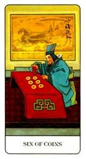 Six of Pentacles Tarot Card - Chinese Tarot Deck