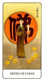 Seven of Coins Tarot Card - Chinese Tarot Deck