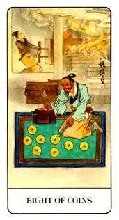 Eight of Coins Tarot Card - Chinese Tarot Deck
