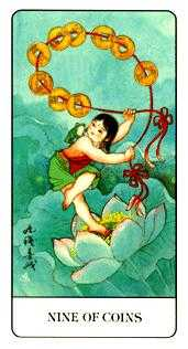 Nine of Coins Tarot Card - Chinese Tarot Deck