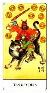 Ten of Pentacles Tarot Card - Chinese Tarot Deck