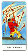Nine of Staves Tarot card in Chinese Tarot deck