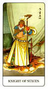Knight of Staves Tarot card in Chinese Tarot deck