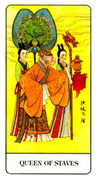 Queen of Staves Tarot card in Chinese Tarot deck