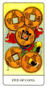 Five of Coins Tarot card in Chinese Tarot deck