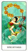 Nine of Coins Tarot card in Chinese Tarot deck